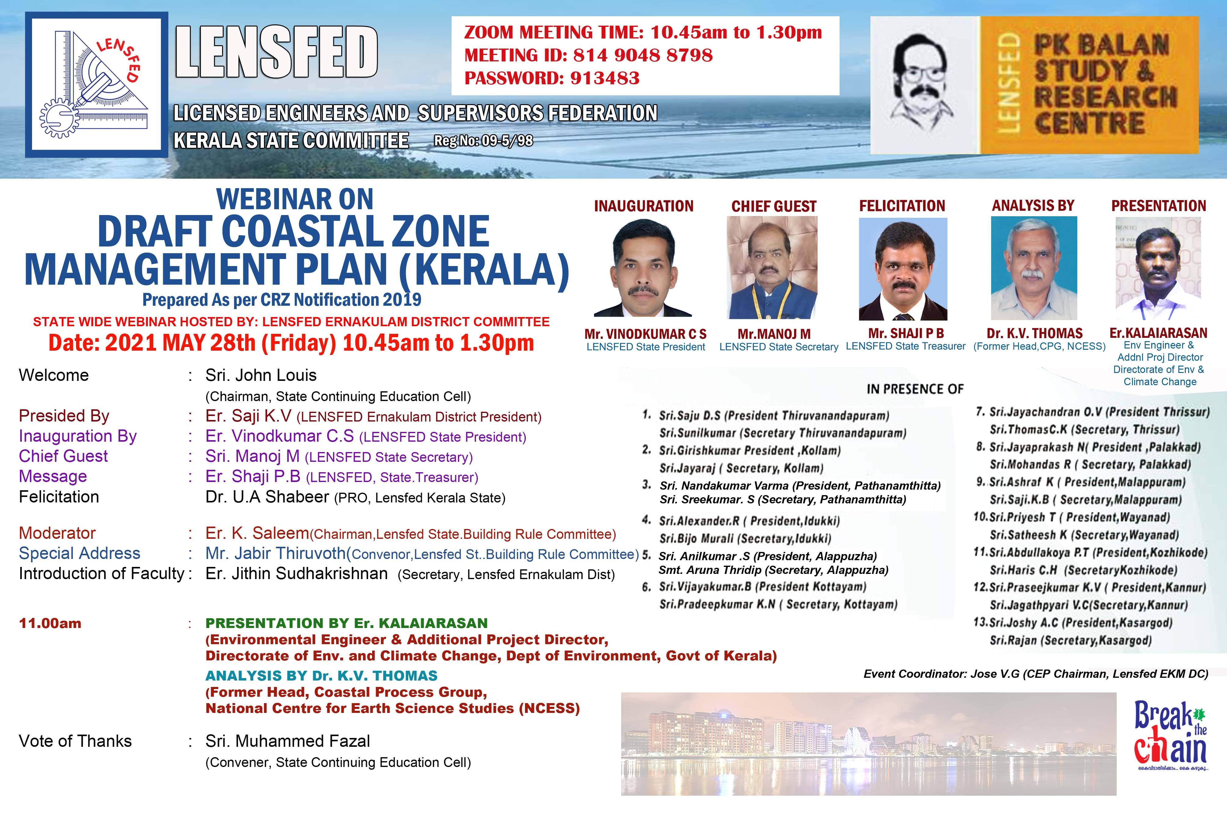 WEBINAR ON DRAFT COASTAL ZONE MANAGEMENT PLAN (KERALA)