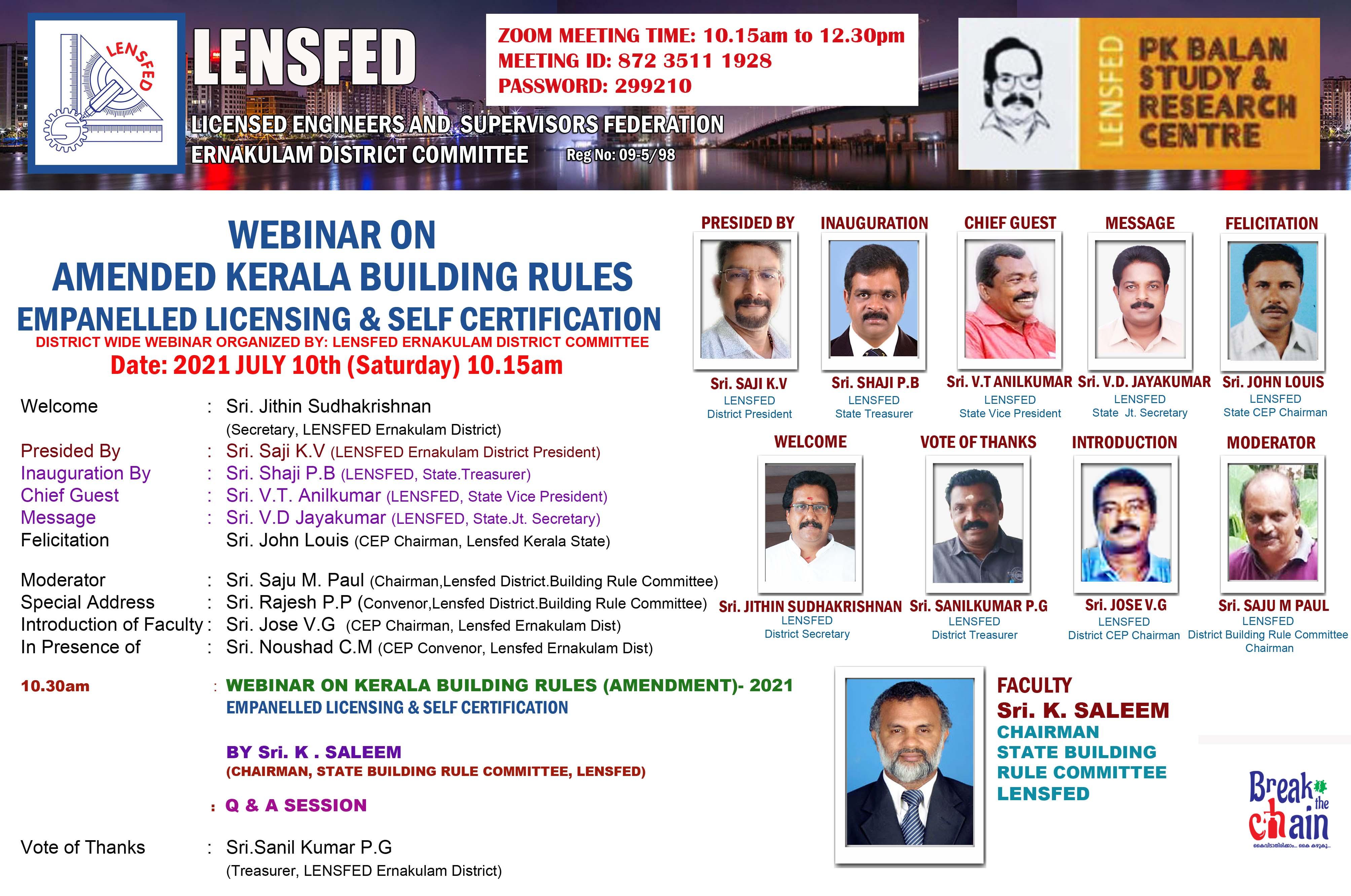 KERALA BUILDING RULE AMENDMENT 2021: WEBINAR ON EMPANELLED LICENSING & SELF CERTIFICATION
